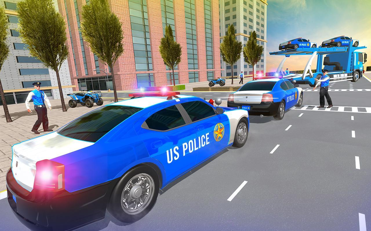 Us Police Car Transporter Truck Driving Simulator screenshot 12