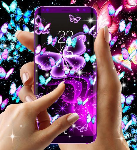 Neon butterflies glowing live wallpaper 6 تصوير الشاشة