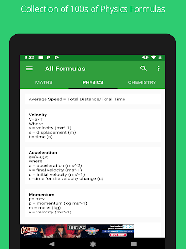 All Formulas - Math, Physics & Chemistry 9 تصوير الشاشة