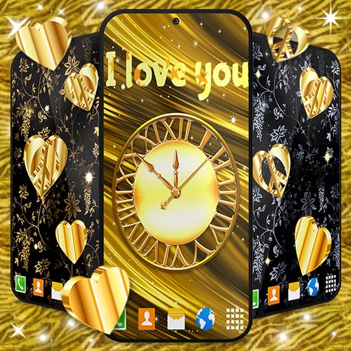 Gold Hearts 4K Wallpaper 💛 Golden live Wallpaper أيقونة