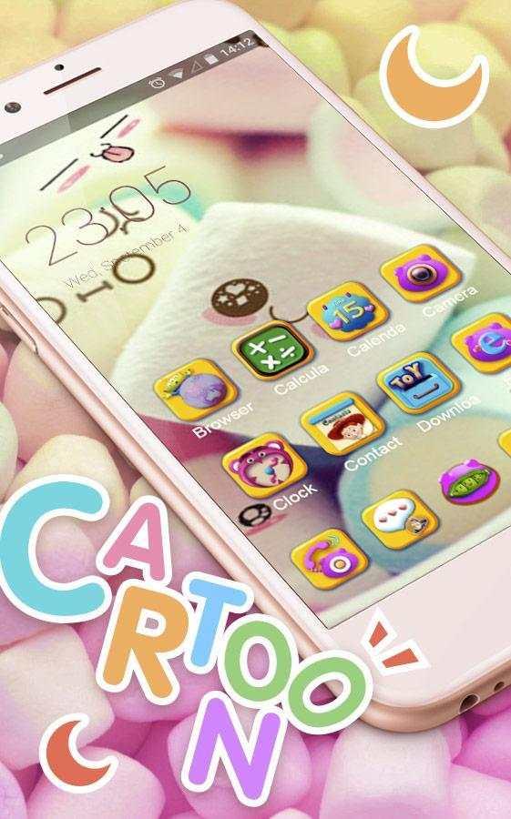 Cute Marshmallow cartoon Theme for android free screenshot 3