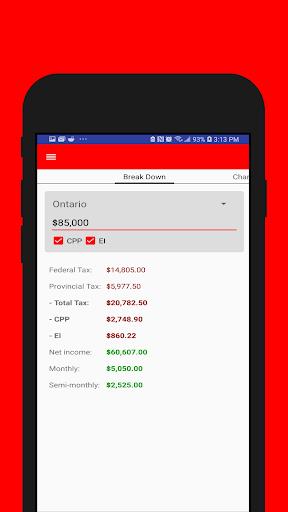 Canadian Pay Cheque Calculator screenshot 1