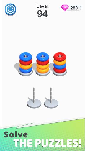 Color Sort Puzzle: Color Hoop Stack Puzzle screenshot 1