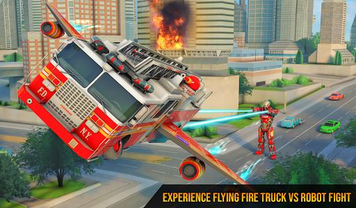 Flying Firefighter Truck Transform Robot Games screenshot 6