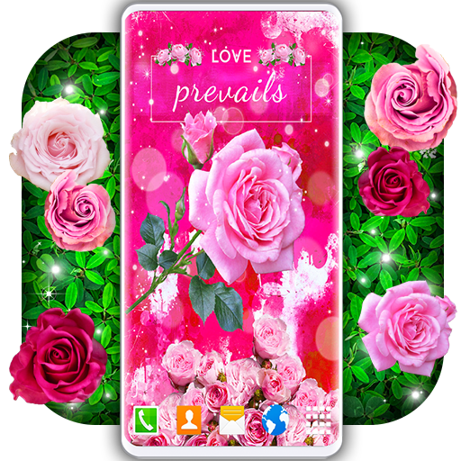 Spring Rose Live Wallpaper 🌹 Pastel Pink Themes أيقونة