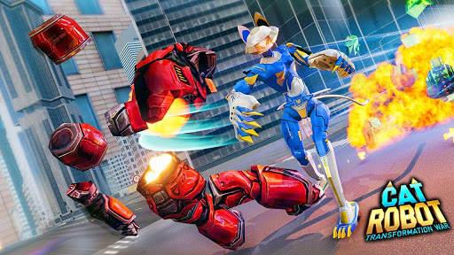 Cat Robot Car Game - Car Robot War 1 تصوير الشاشة