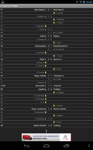لايف سكور كرة القدم الويدجت 9 تصوير الشاشة