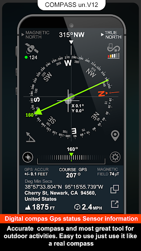 Digital Compas, Gps Status, Sensor information screenshot 1