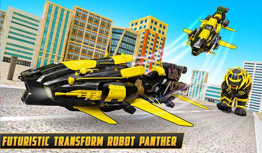 Flying Motobike Robot Transform Panther Robot Game screenshot 4