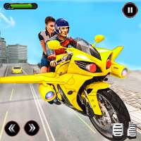 Real Flying Bike Taxi Simulator: Bike Driving Game on 9Apps