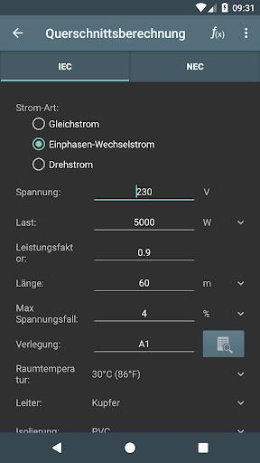 Elektro Berechnungen screenshot 2