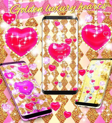 Golden luxury diamond hearts live wallpaper screenshot 2