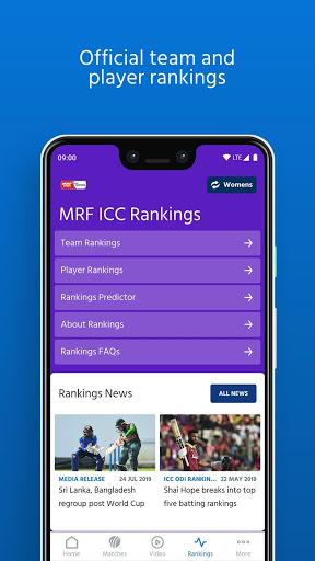 ICC - Live International Cricket Scores & News 5 تصوير الشاشة