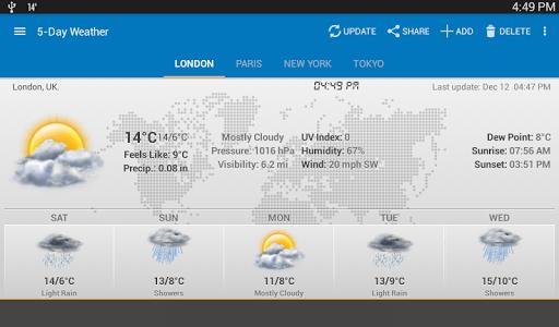 الطقس وويدجت الساعة لأندرويد - توقعات الأرصاد 8 تصوير الشاشة