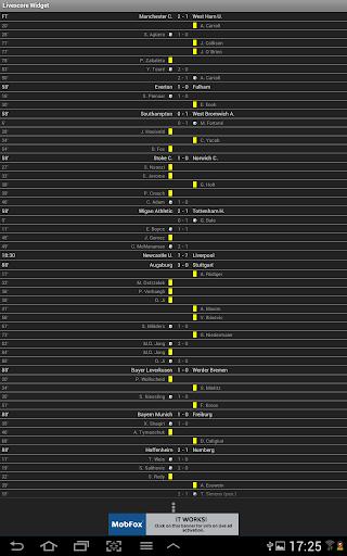 لايف سكور كرة القدم الويدجت 17 تصوير الشاشة