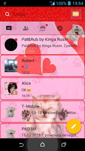 Pink Cats Theme GO SMS Pro screenshot 1
