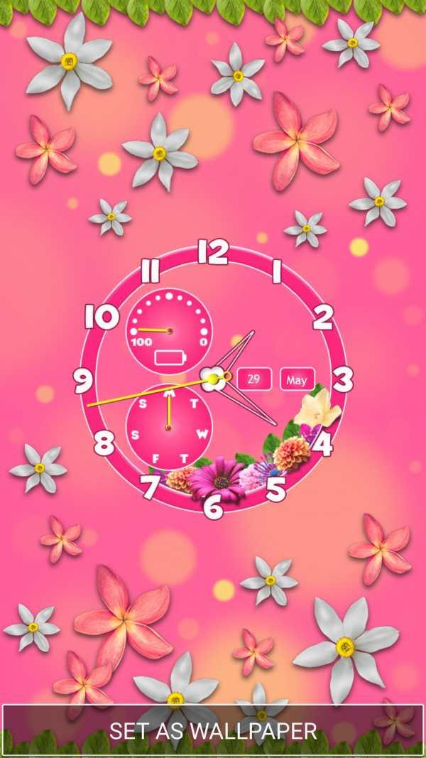 Flower Clock Wallpaper screenshot 2