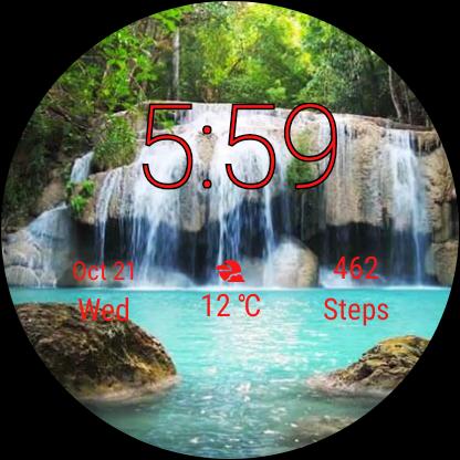 Watch Face Waterfall Wallpaper- Wear OS Smartwatch screenshot 8