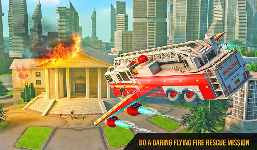 Flying Firefighter Truck Transform Robot Games screenshot 5