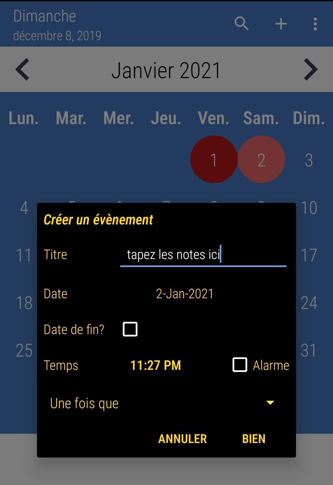 Calendrier 2020 Français screenshot 4