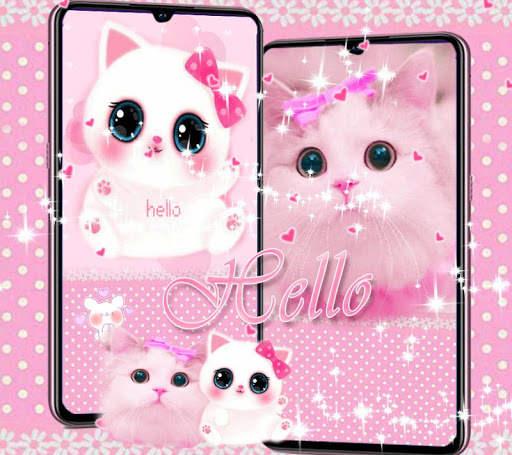 Cute Kitty theme Pink Bow Kitty 1 تصوير الشاشة