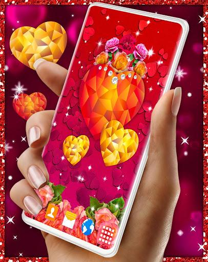 Diamond Hearts Live Wallpaper 💎 Love 4K Wallpaper 4 تصوير الشاشة