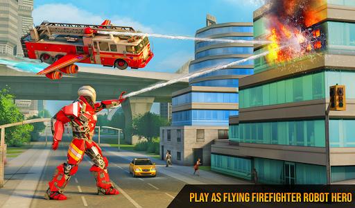 Flying Firefighter Truck Transform Robot Games screenshot 7