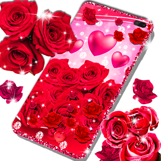 Red rose live wallpaper أيقونة