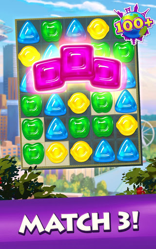Gummy Drop! Match to restore and build cities screenshot 2