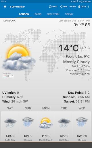 الطقس وويدجت الساعة لأندرويد - توقعات الأرصاد 13 تصوير الشاشة