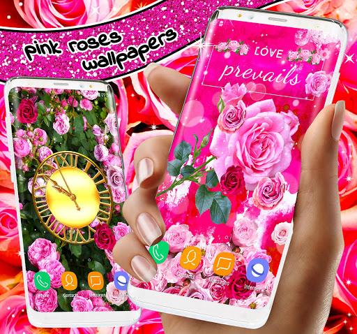 Spring Rose Live Wallpaper 🌹 Pastel Pink Themes screenshot 6