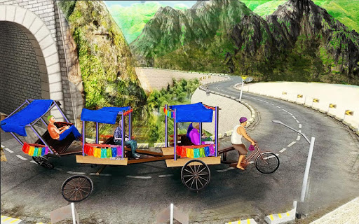 Bicycle Rickshaw Simulator 2019 : Taxi Game screenshot 1