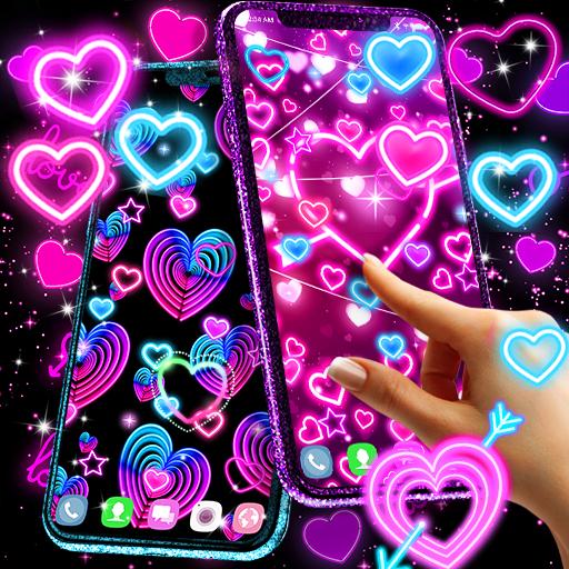 Neon hearts live wallpaper أيقونة