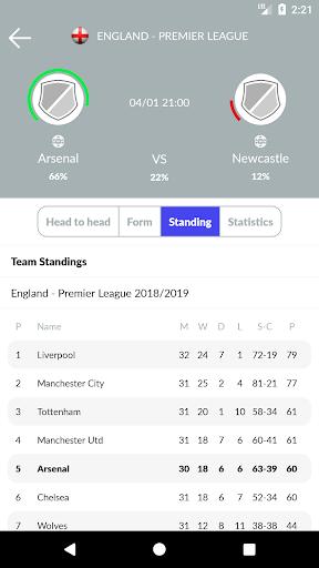 تنبؤات وإحصائيات كرة القدم والمراهنات 5 تصوير الشاشة