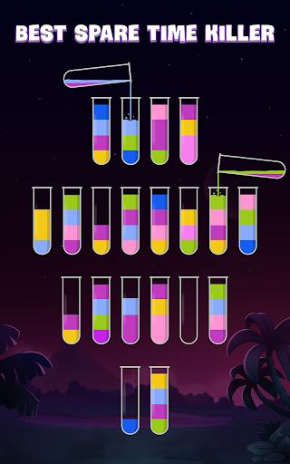 ソートウォーターパズル - 色分けゲーム screenshot 2