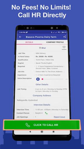 WorkIndia Job Search App - Free HR contact direct 5 تصوير الشاشة