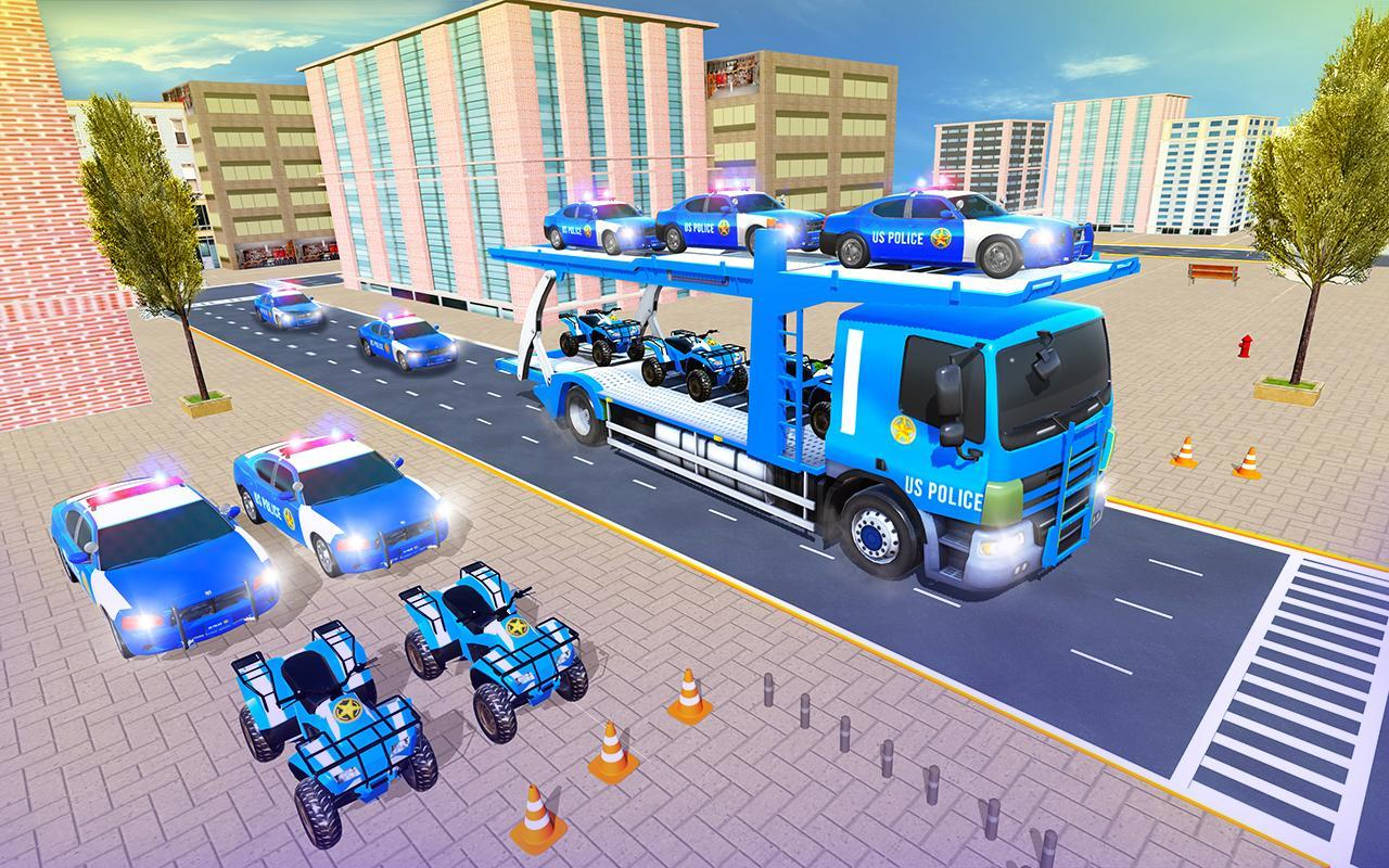 Us Police Car Transporter Truck Driving Simulator screenshot 6