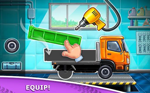 बच्चों के लिए ट्रक गेम - घर की इमारत  कार धोने स्क्रीनशॉट 1