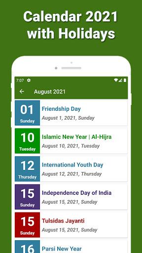 Calendar 2021 with Holidays 5 تصوير الشاشة