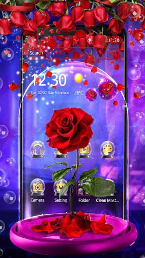 Red Rose In Magical Glass Theme screenshot 2