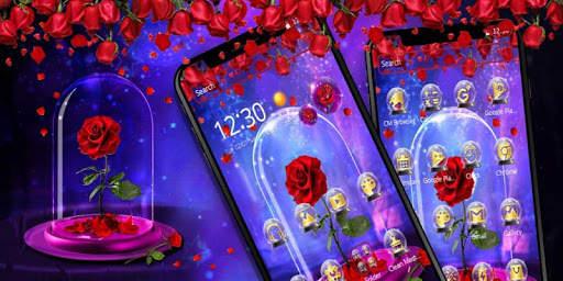 Red Rose In Magical Glass Theme screenshot 4
