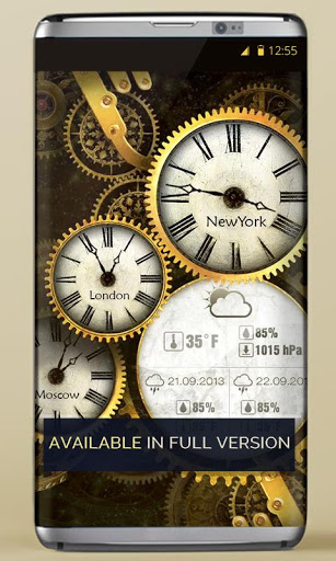 FREE Gold Clock Live Wallpaper 3 تصوير الشاشة
