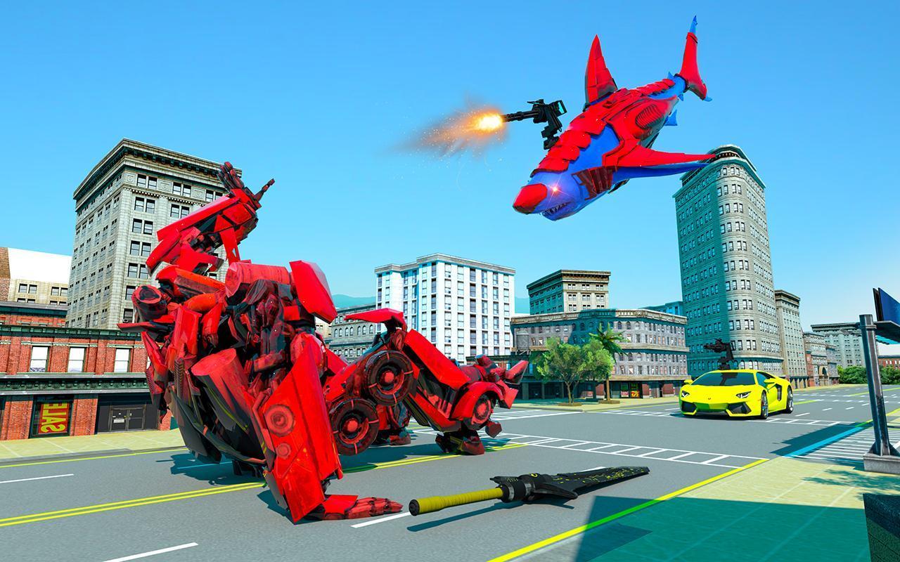Grand Shark Robot Car Transformation War 4 تصوير الشاشة
