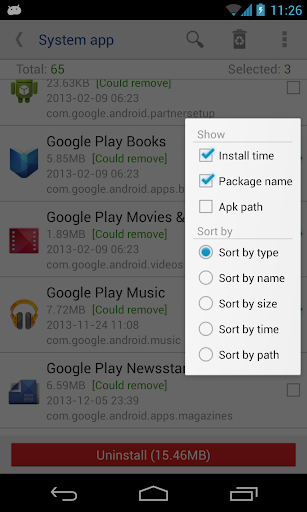 System app remover (root needed) screenshot 2