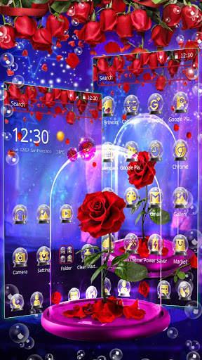 Red Rose In Magical Glass Theme screenshot 3