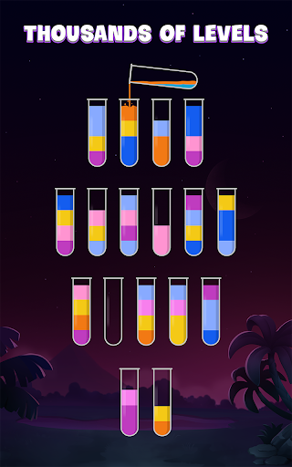 ソートウォーターパズル - 色分けゲーム screenshot 1