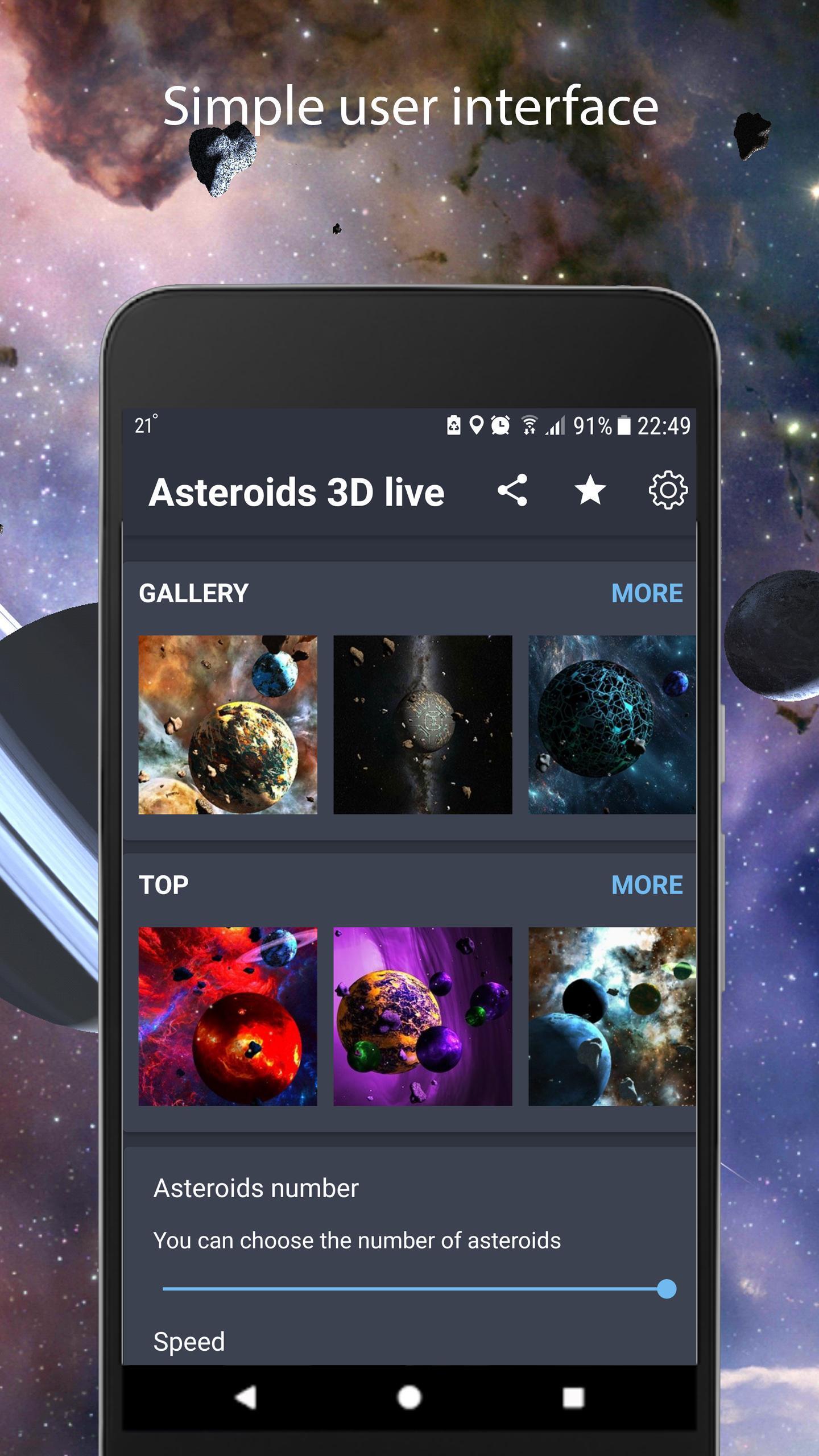 Asteroids 3D live wallpaper 1 تصوير الشاشة