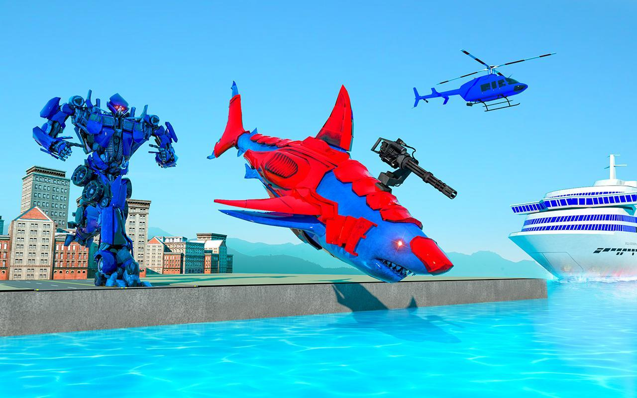 Grand Shark Robot Car Transformation War 3 تصوير الشاشة