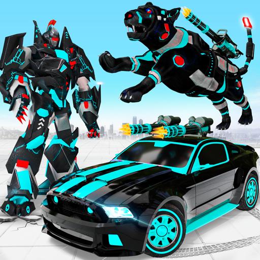 Flying Motobike Robot Transform Panther Robot Game icon