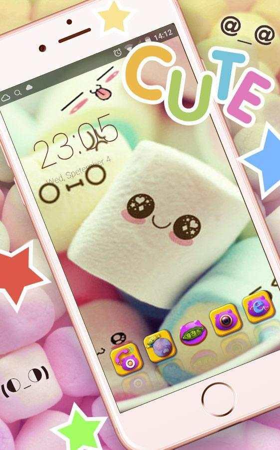 Cute Marshmallow cartoon Theme for android free screenshot 1